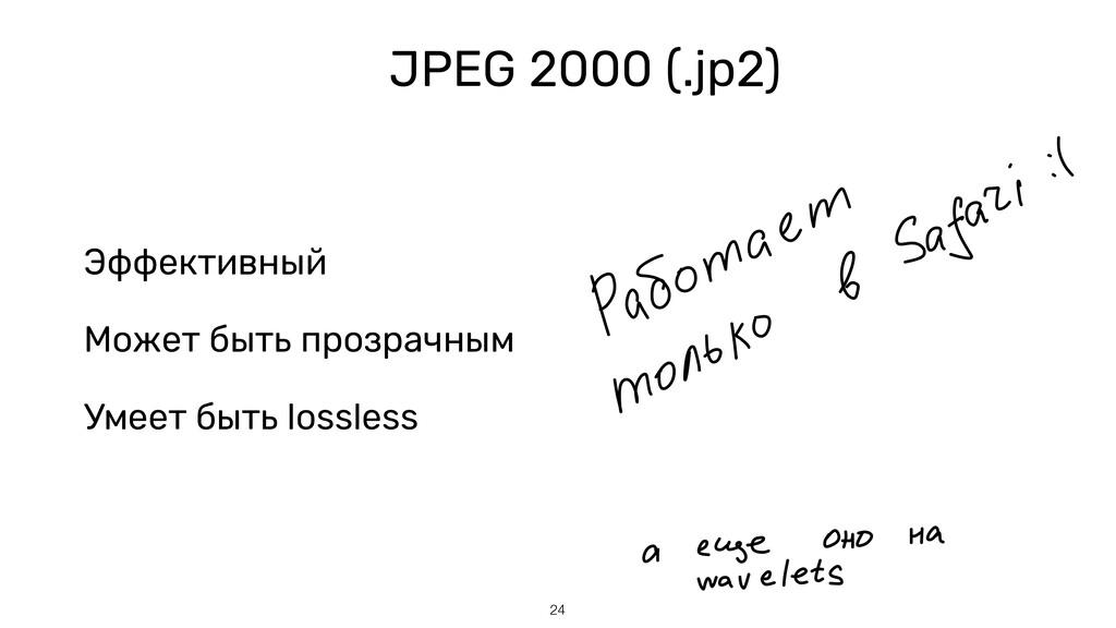 JPEG 2000 (.jp2) 24 Эффективный Может быть проз...