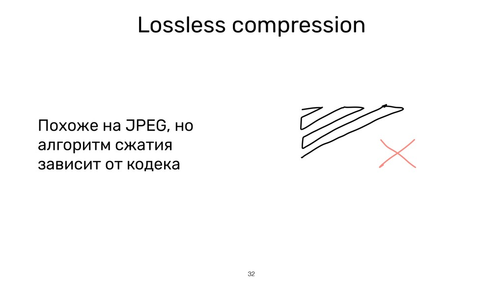 32 Lossless compression Похоже на JPEG, но алго...