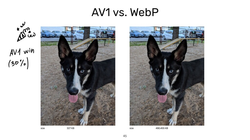 AV1 vs. WebP 45
