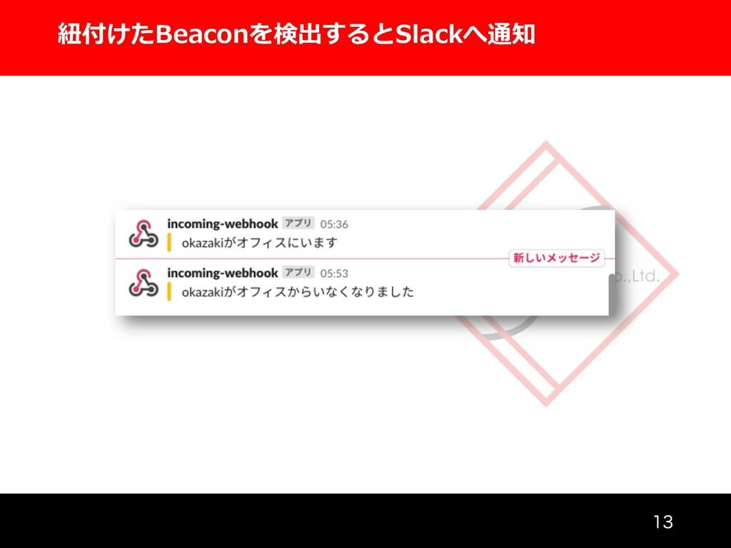 紐付けたBeaconを検出するとSlackへ通知