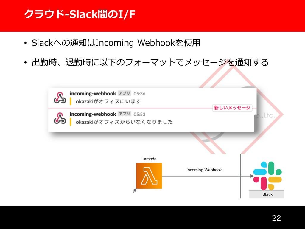 クラウド-Slack間のI/F  • Slackへの通知はIncoming Webhook...