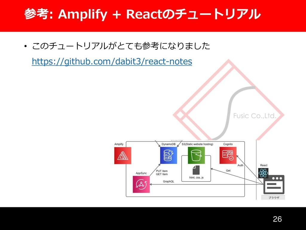 参考: Amplify + Reactのチュートリアル  • このチュートリアルがとても参...