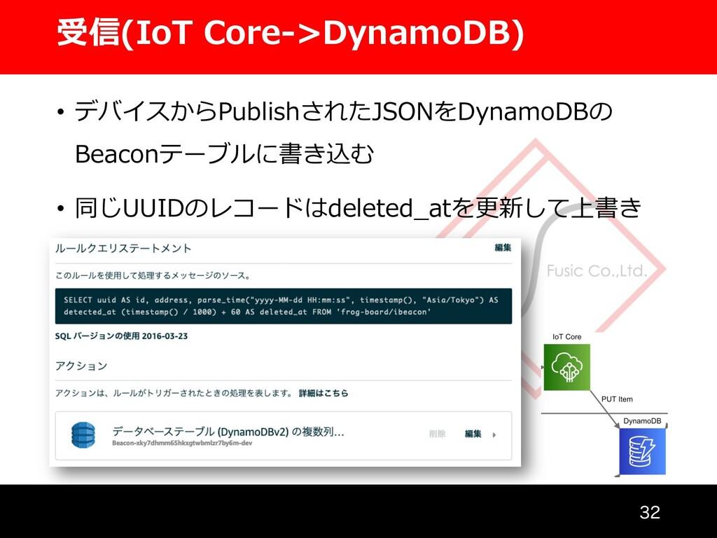 受信(IoT Core->DynamoDB)  • デバイスからPublishされたJSO...