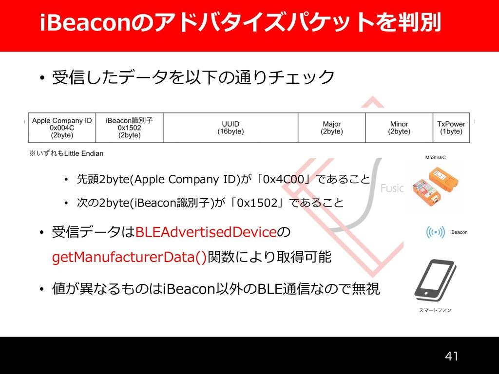 iBeaconのアドバタイズパケットを判別  • 受信したデータを以下の通りチェック • ...