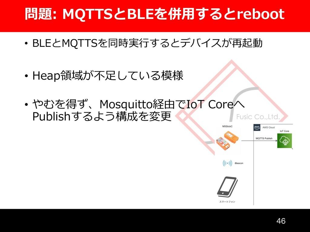 問題: MQTTSとBLEを併⽤するとreboot • BLEとMQTTSを同時実⾏するとデバ...