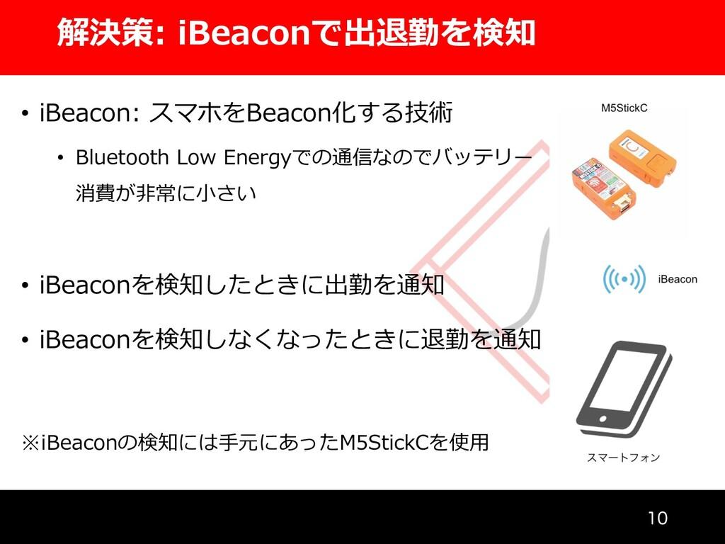 解決策: iBeaconで出退勤を検知  • iBeacon: スマホをBeacon化する...