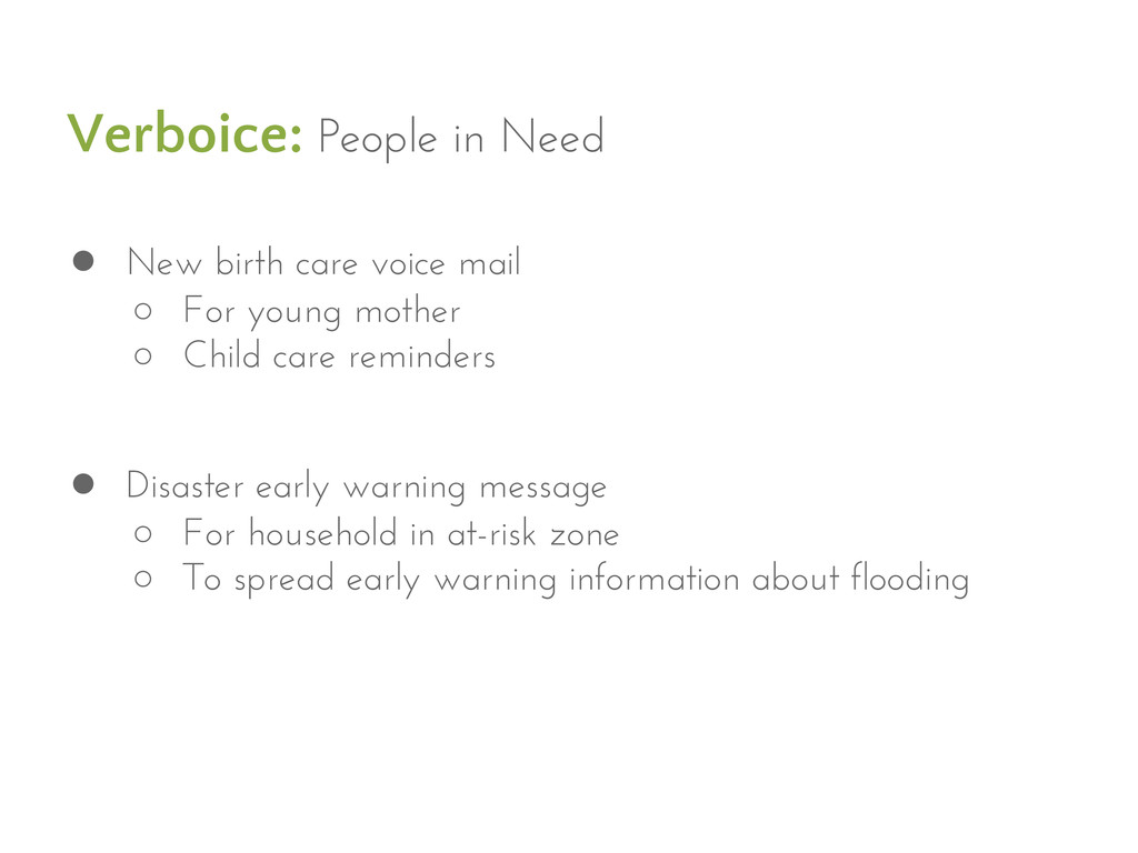 Verboice: People in Need ● New birth care voice...