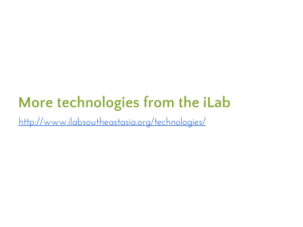 More technologies from the iLab http://www.ilab...