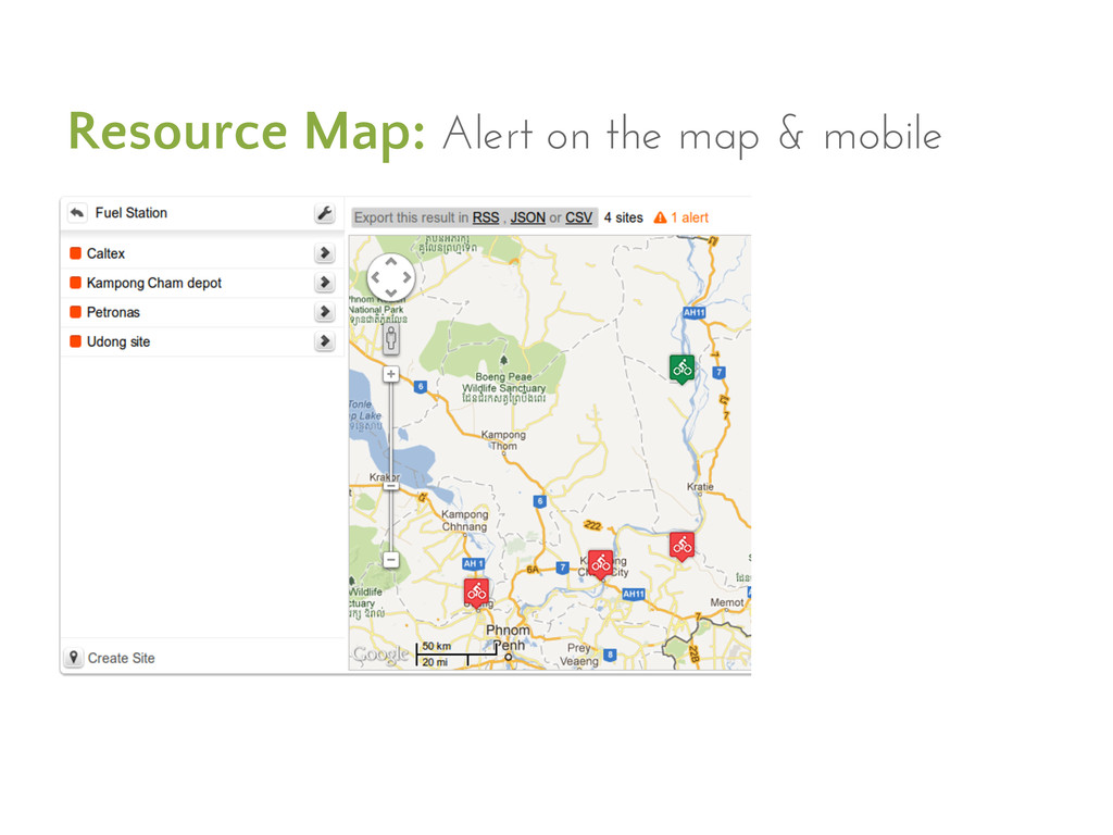 Resource Map: Alert on the map & mobile