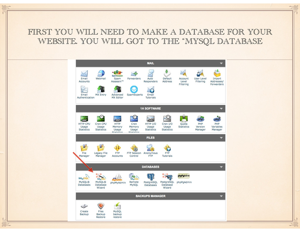 FIRST YOU WILL NEED TO MAKE A DATABASE FOR YOUR...