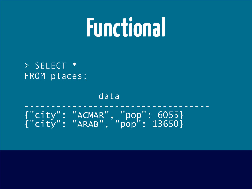 Functional > SELECT * FROM places; ! data -----...