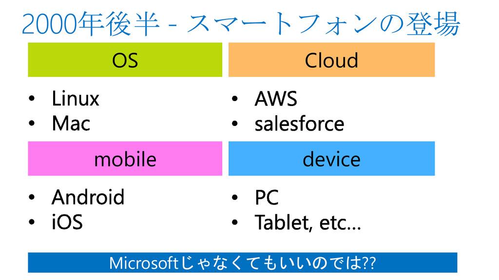 OS Cloud mobile device Microsoftじゃなくてもいいのでは??