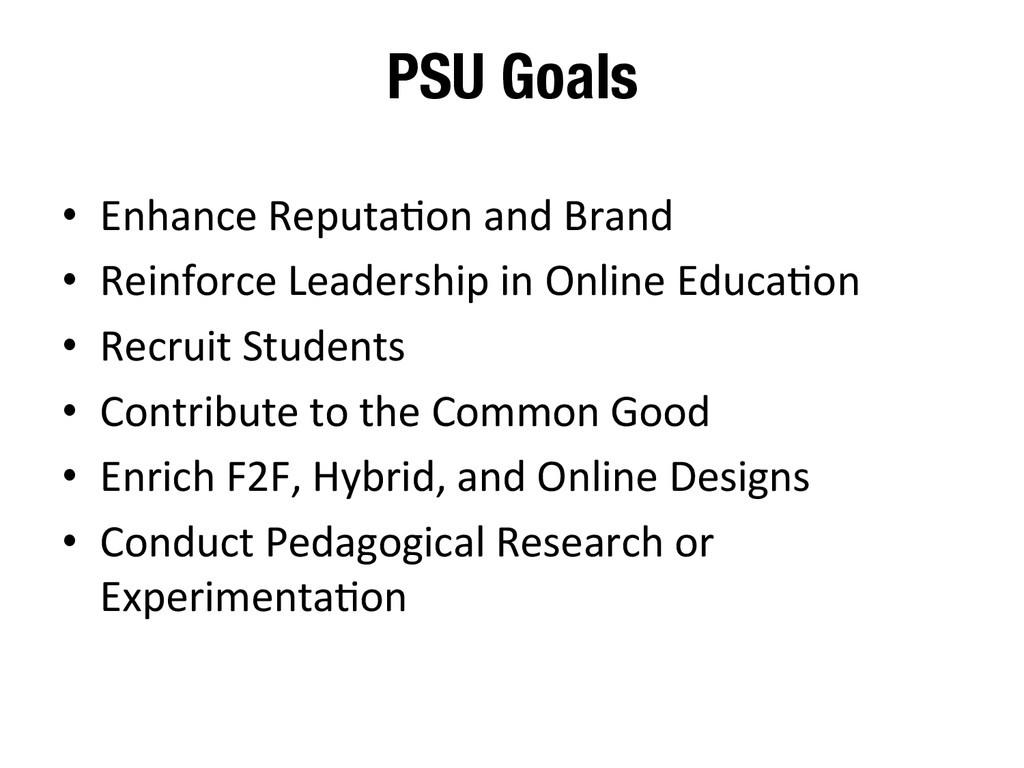 PSU Goals