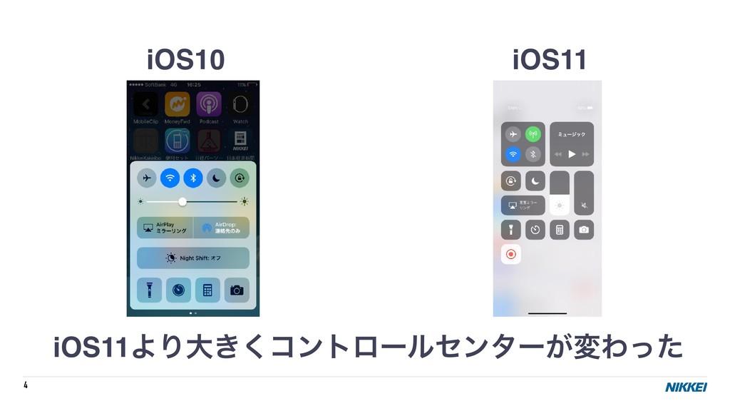 4 iOS10 iOS11 iOS11ΑΓେ͖͘ίϯτϩʔϧηϯλʔ͕มΘͬͨ