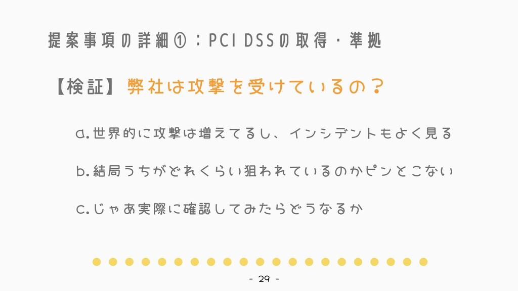 提案事項の詳細①:PCI DSSの取得・準拠 世界的に攻撃は増えてるし、インシデントもよく見る...