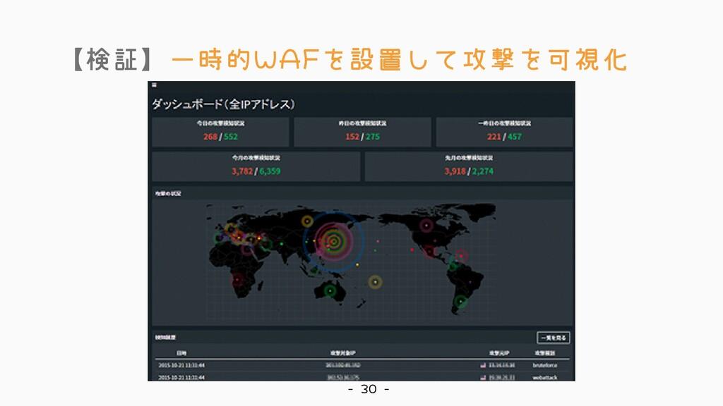 【検証】一時的WAFを設置して攻撃を可視化 - 30 -