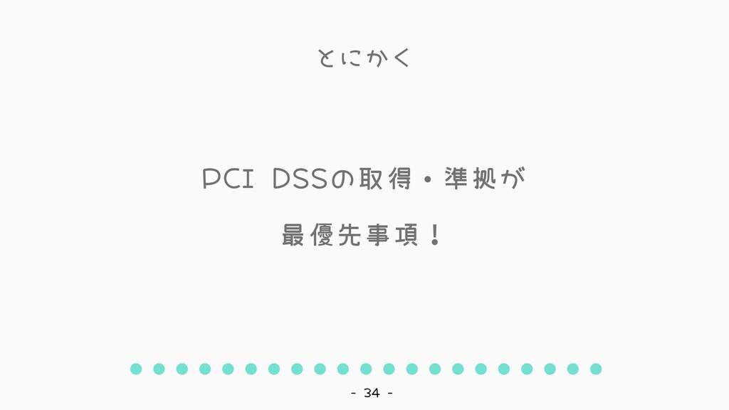 - 34 - PCI DSSの取得・準拠が 最優先事項! とにかく