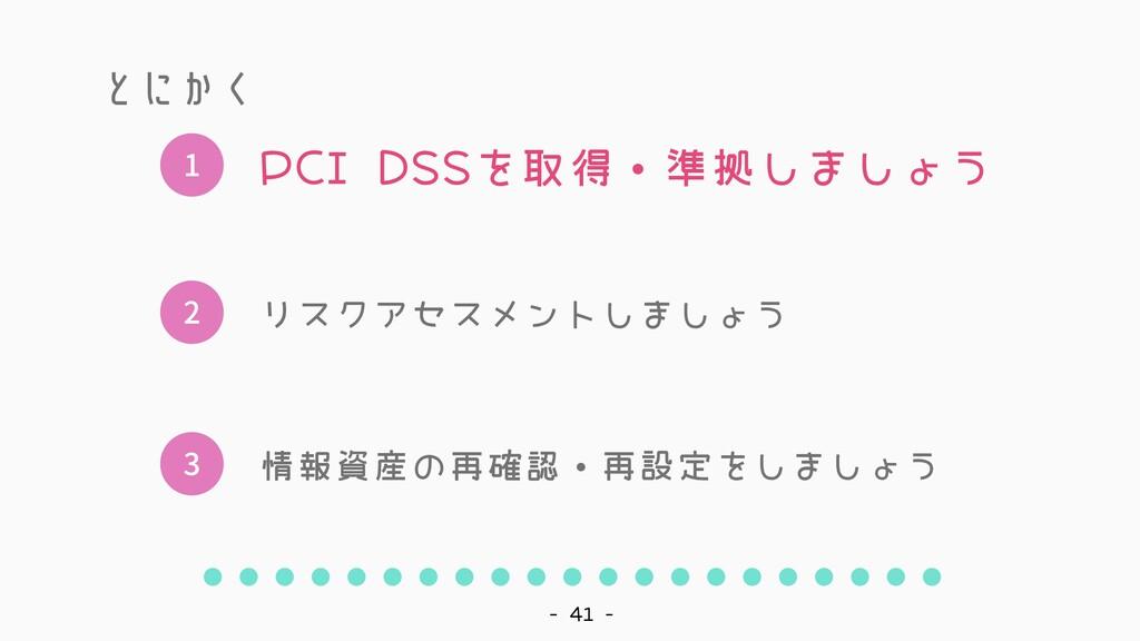 - 41 - 1 2 3 PCI DSSを取得・準拠しましょう リスクアセスメントしましょう ...