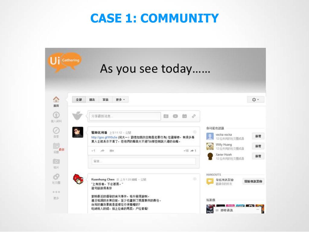 CASE 1: COMMUNITY