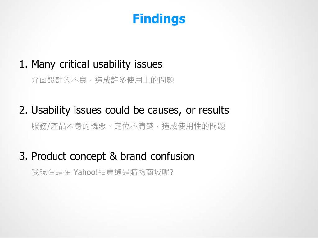 Findings 1. Many critical usability issues 介面設計...