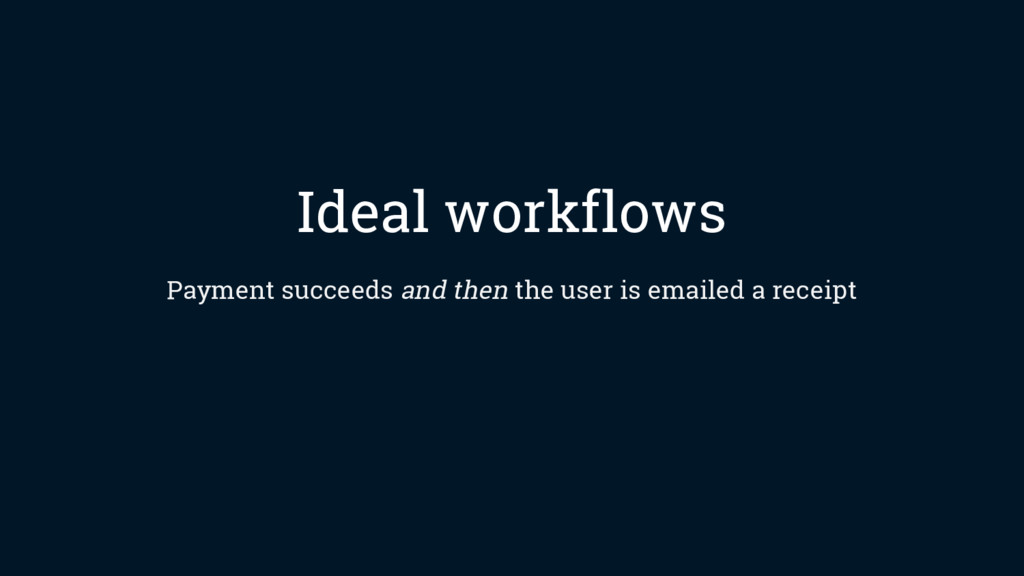 Ideal workflows Payment succeeds and then the u...