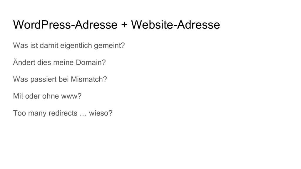 WordPress-Adresse + Website-Adresse Was ist dam...