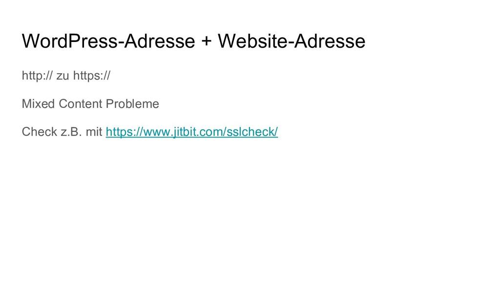 WordPress-Adresse + Website-Adresse http:// zu ...