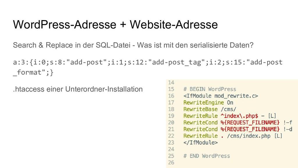 WordPress-Adresse + Website-Adresse Search & Re...