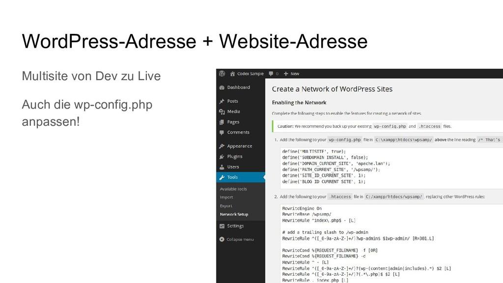 WordPress-Adresse + Website-Adresse Multisite v...