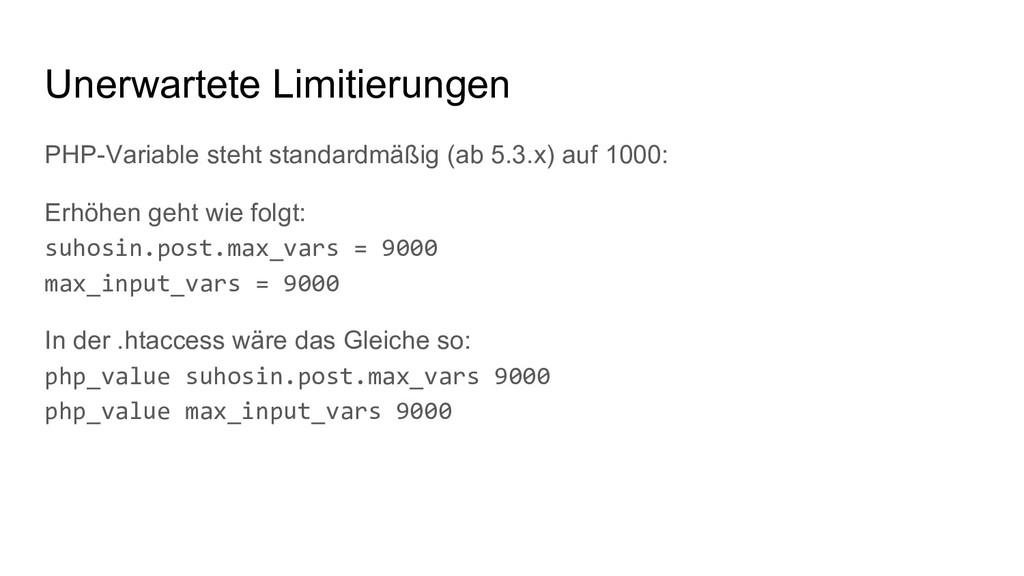 PHP-Variable steht standardmäßig (ab 5.3.x) auf...