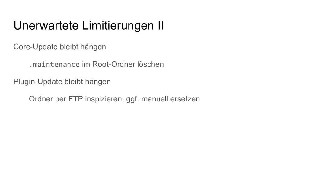 Core-Update bleibt hängen .maintenance im Root-...