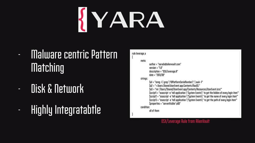 Yara - Malware centric Pattern Matching - Disk ...