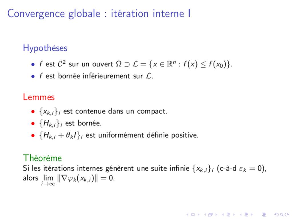 Convergence globale : itération interne I Hypot...