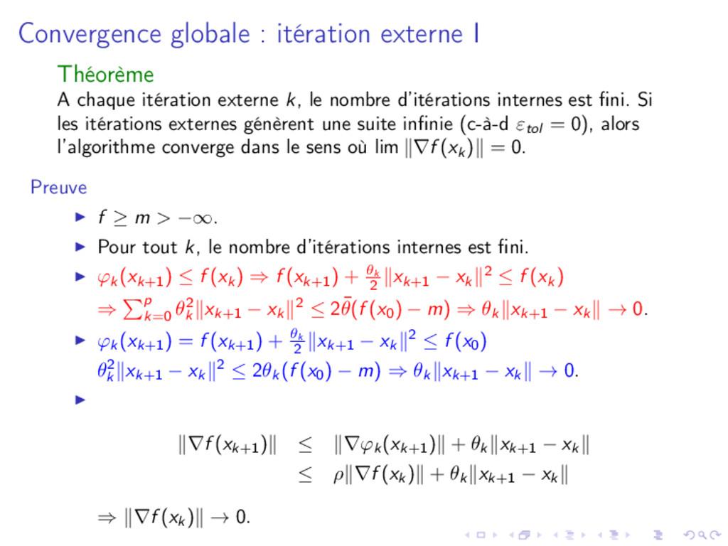 Convergence globale : itération externe I Théor...