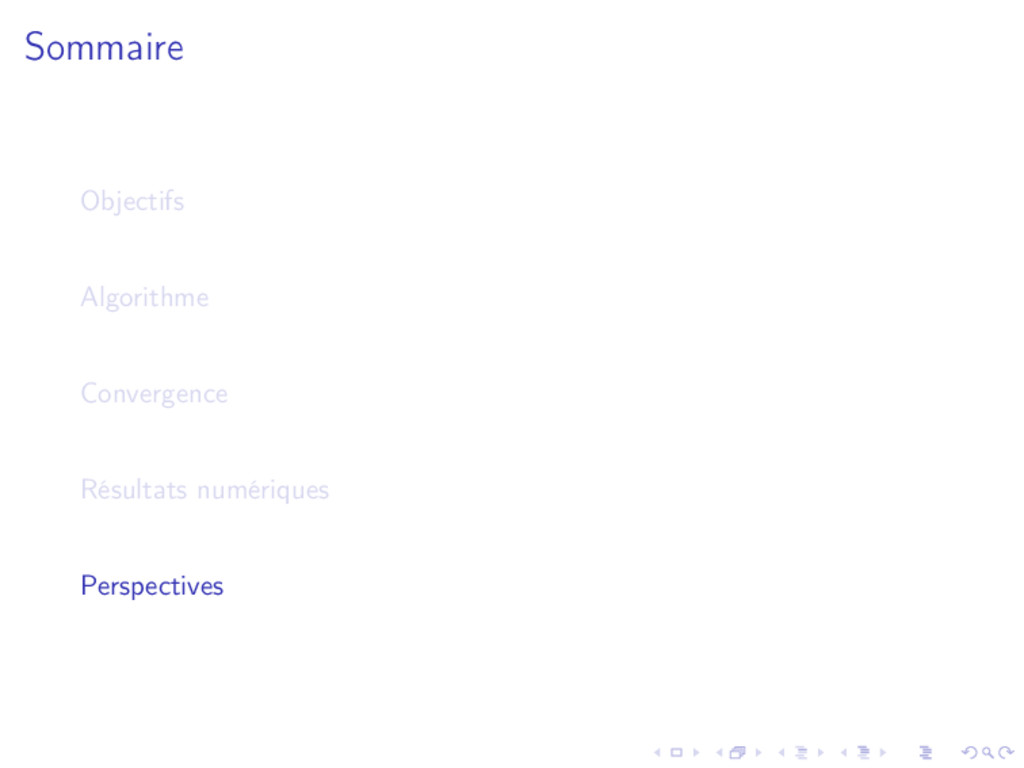 Sommaire Objectifs Algorithme Convergence Résul...