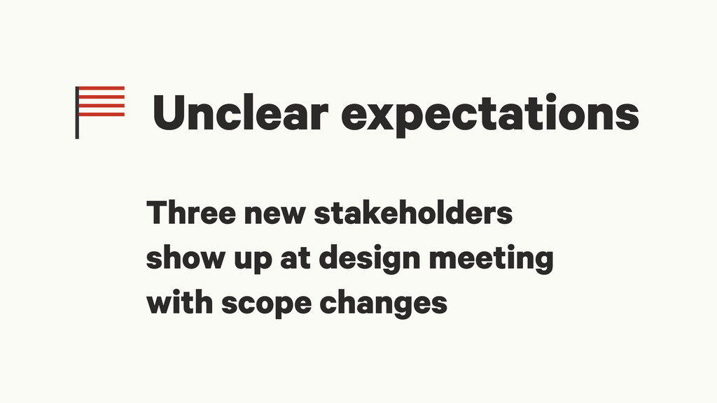Unclear expectations Three new stakeholders sho...