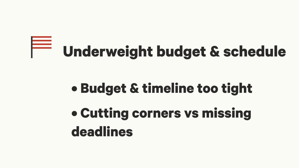 Underweight budget & schedule • Budget & timeli...