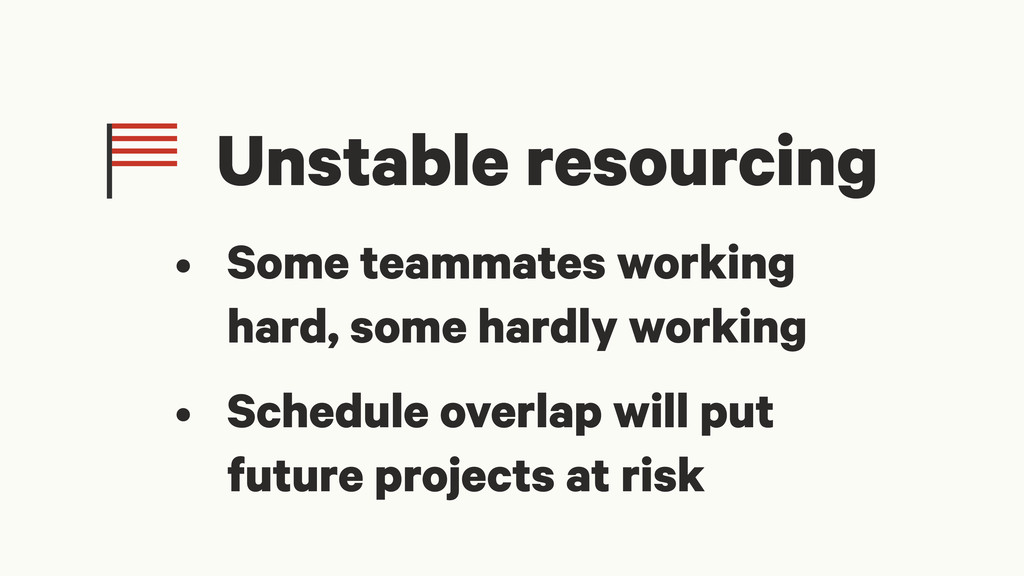 Unstable resourcing • Some teammates working ha...