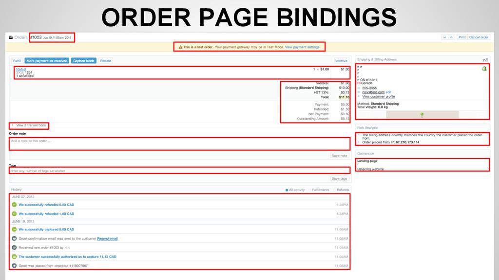 ORDER PAGE BINDINGS