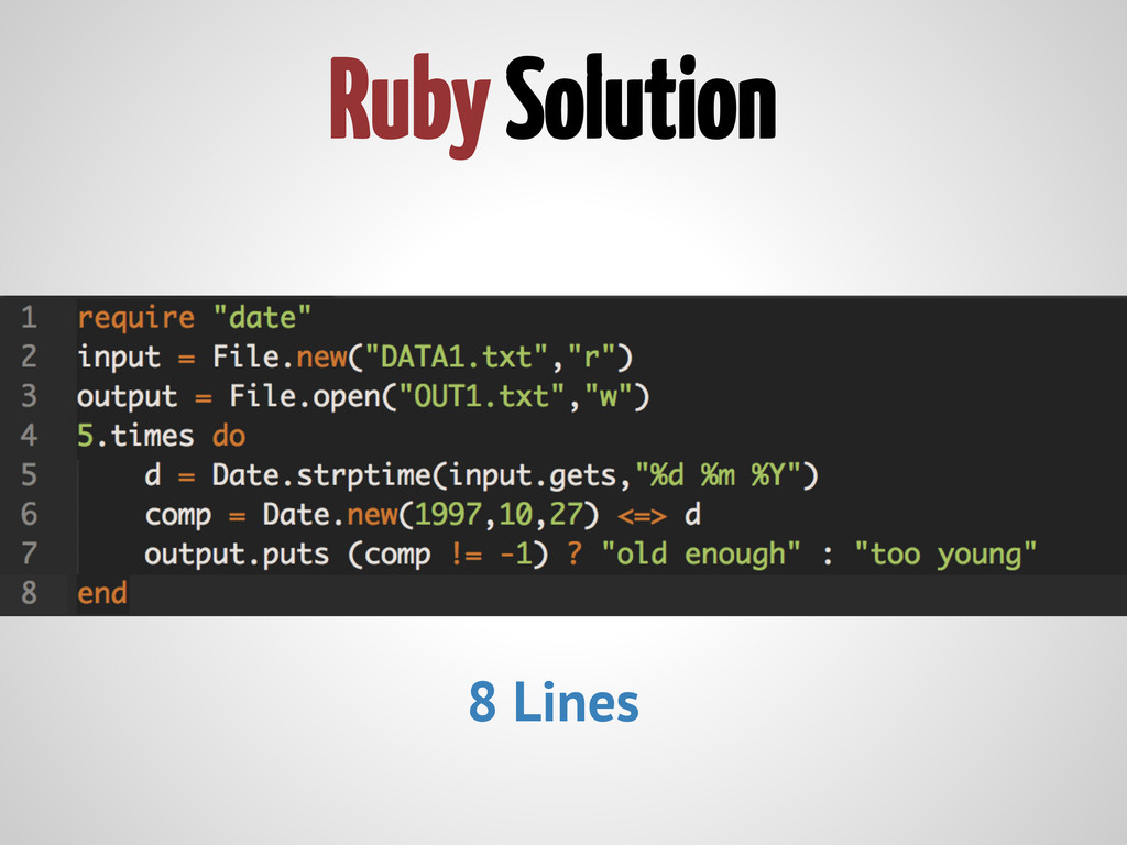 Ruby Solution 8 Lines