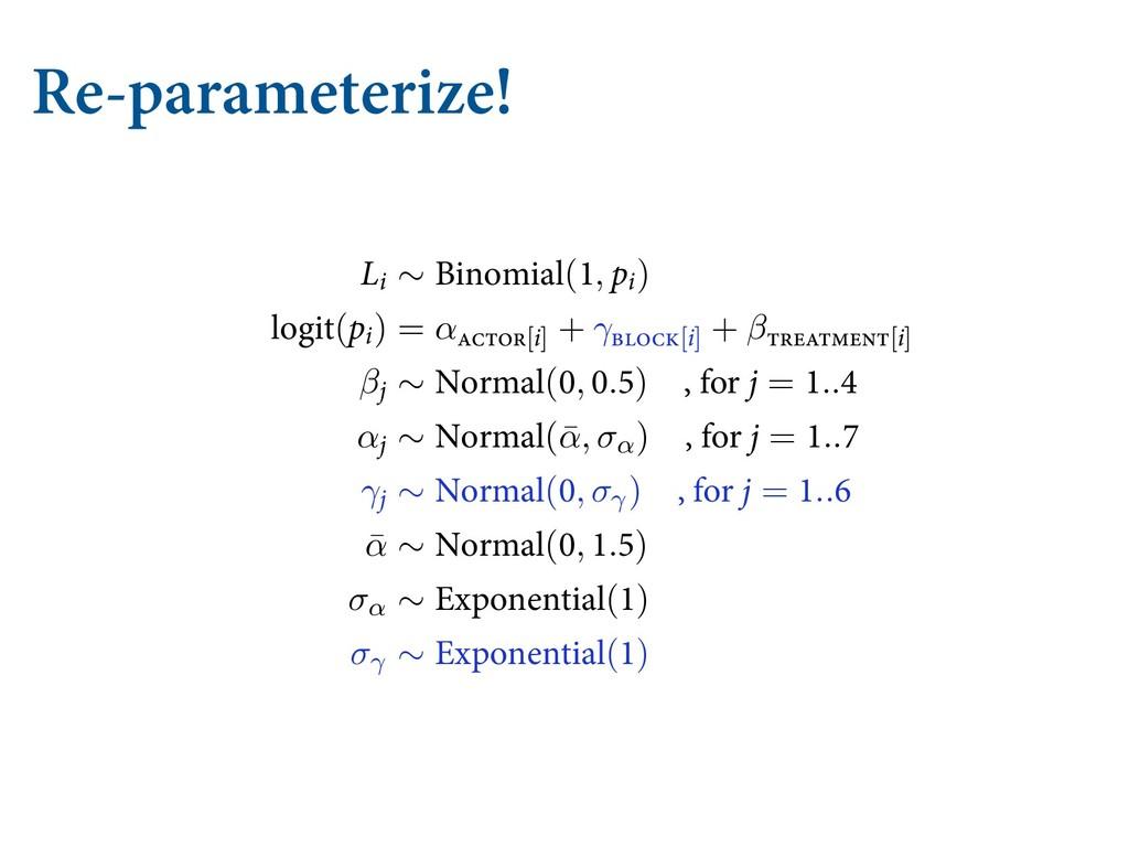 Re-parameterize! KVTU SFQMBDF UIF ĕYFE SFHVMBSJ...