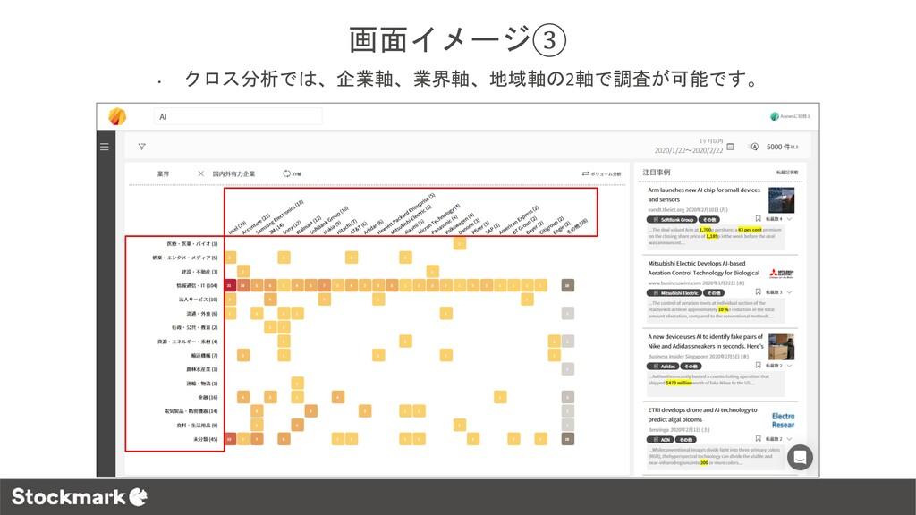 画面イメージ③ • クロス分析では、企業軸、業界軸、地域軸の2軸で調査が可能です。