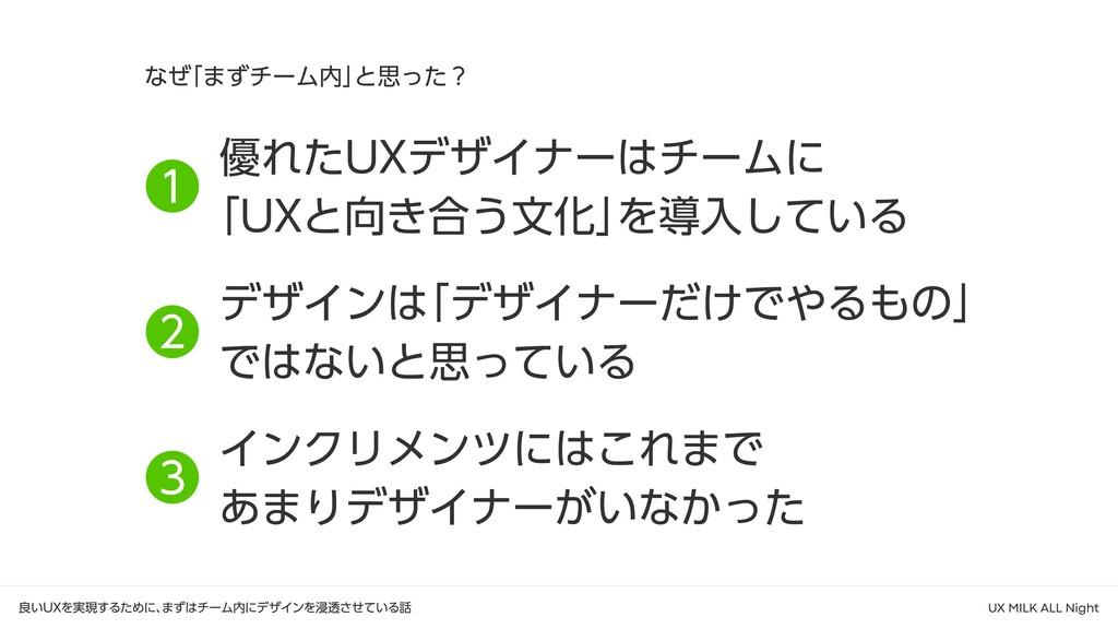 なぜ 「まずチーム内」 と思った? ❶ ❷ ❸ 優れたUXデザイナーはチームに  「UXと向き...