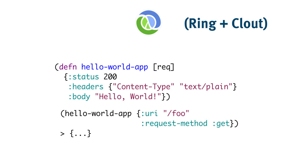 (Ring + Clout) (defn hello-world-app [req]