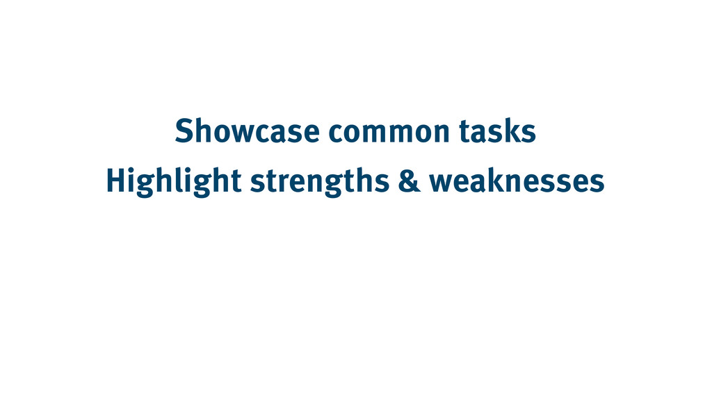 Showcase common tasks Highlight strengths & wea...