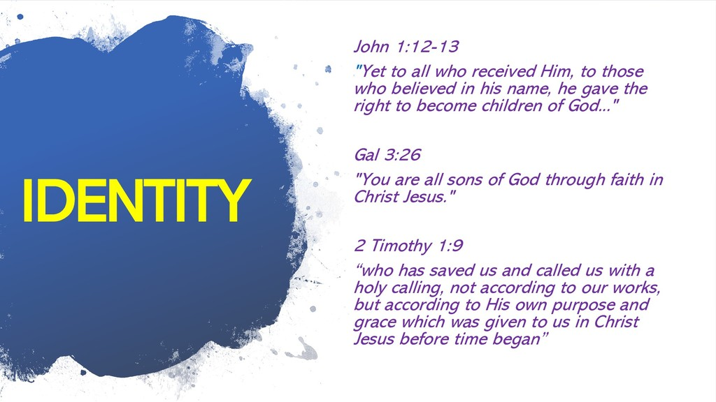 """IDENTITY John 1:12-13 """"Yet to all who received ..."""