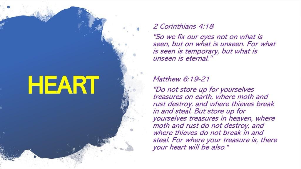 "HEART 2 Corinthians 4:18 ""So we fix our eyes no..."