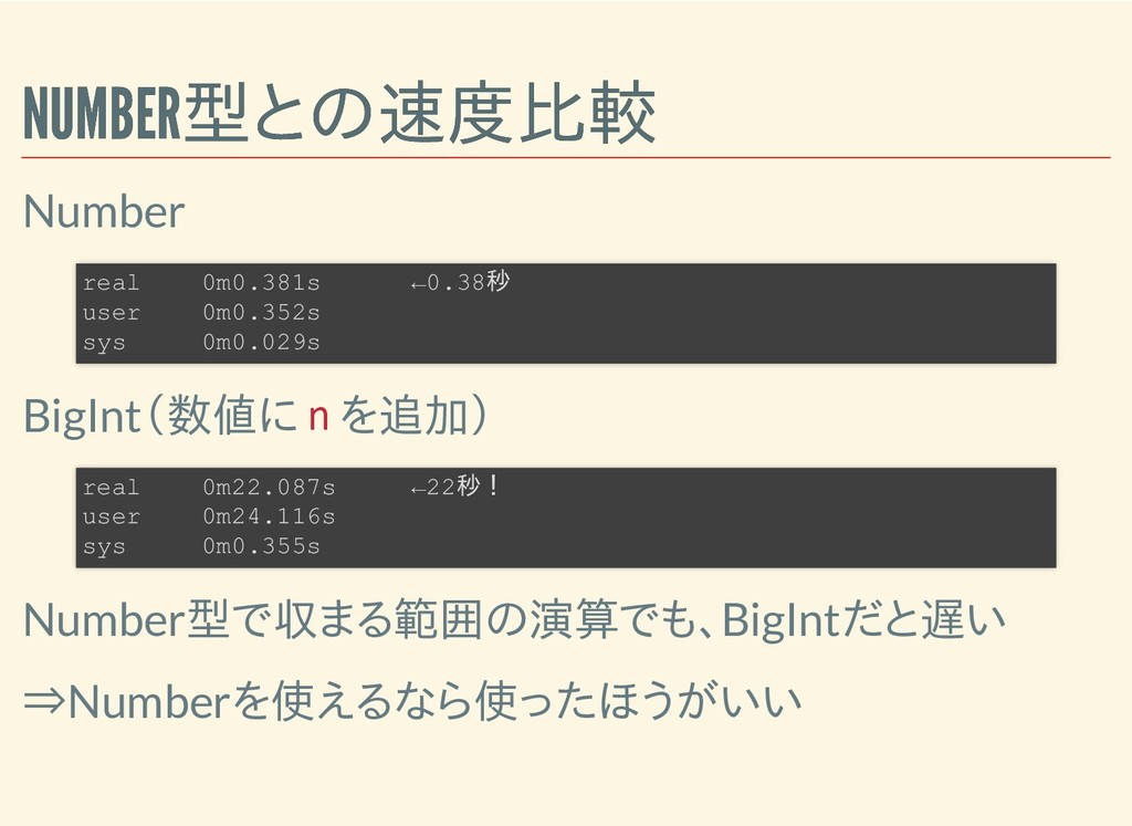 NUMBER型との速度比較 NUMBER型との速度比較 Number BigInt(数値に n...