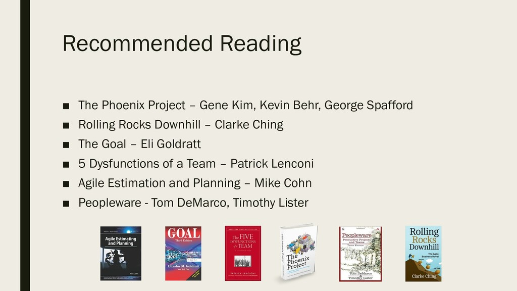 Recommended Reading ■ The Phoenix Project – Gen...