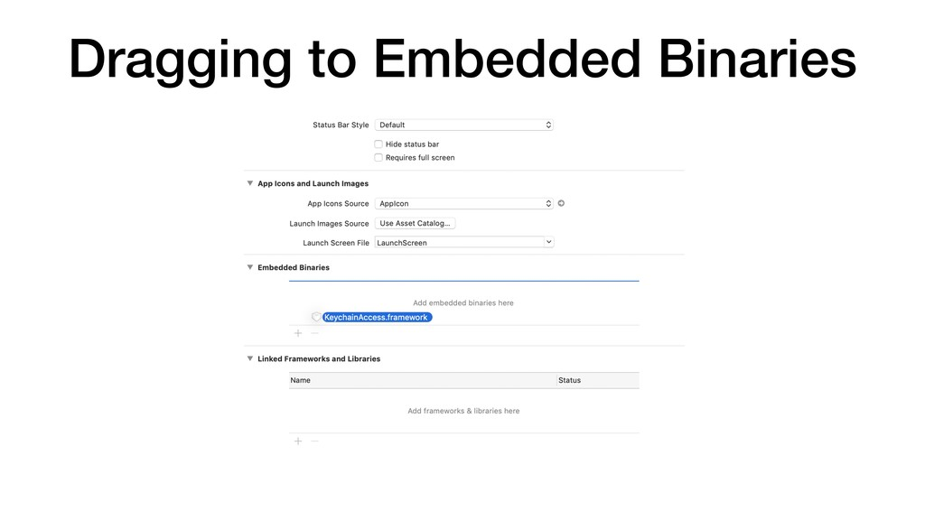 Dragging to Embedded Binaries
